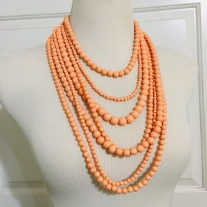 Jewelry - Seven Strand Beaded Statement Necklace Peach Coral